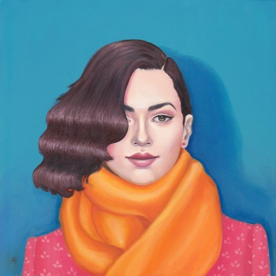 Orange Scarf portrait by Arabella Proffer