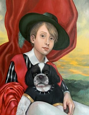 oil portrait of child and his dog