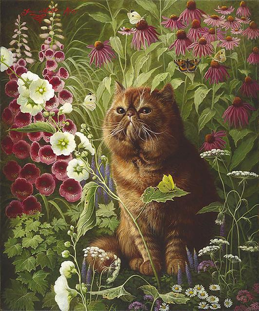 painting of persian cat